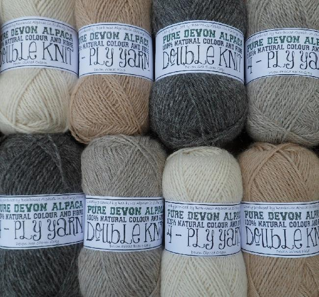 DK and 4 PLY pure alpaca wool from our own fibre for sale on our online shop: bearhousealpacas.co.uk