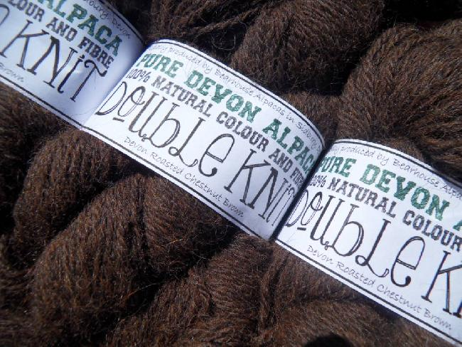 Devon Roasted Chestnut Brown 100 gm skein pure alpaca double knit for sale on our online shop.
