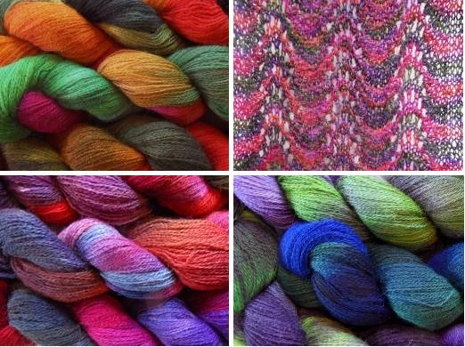 Hand dyed alpaca/merino blend scarf kits available from our on-line shop