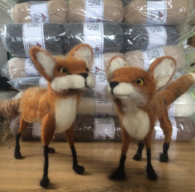Alpaca/Merino felted foxes made by Eleanor Westall - available from Bearhouse Alpacas