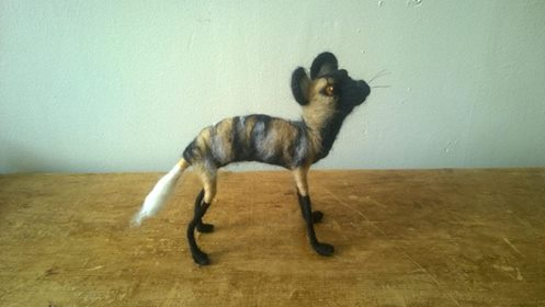 Latest creation by Heart Felt Art - an African Hunting Dog!  Made with alpaca and merino