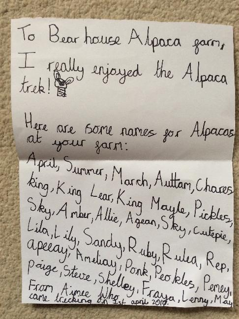 Alpaca trekking fan mail! - April 2014