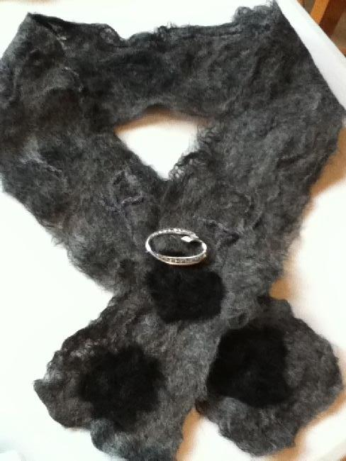 Silver grey 'cobweb' felted alpaca collar